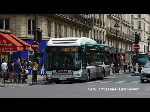 Paris Bus RATP MAN Lion's City Hybrid on Rt.21 from Gare Saint-Lazare to Luxembourg