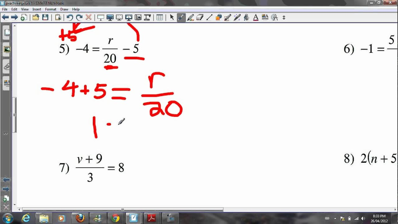 Algebra Grade 8 Tutorial YouTube – Grade 8 Math Algebra Worksheets