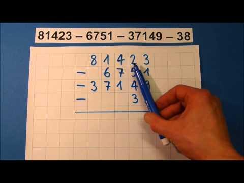 Tutorial: Schriftliche Subtraktion (mit mehreren Zahlen)