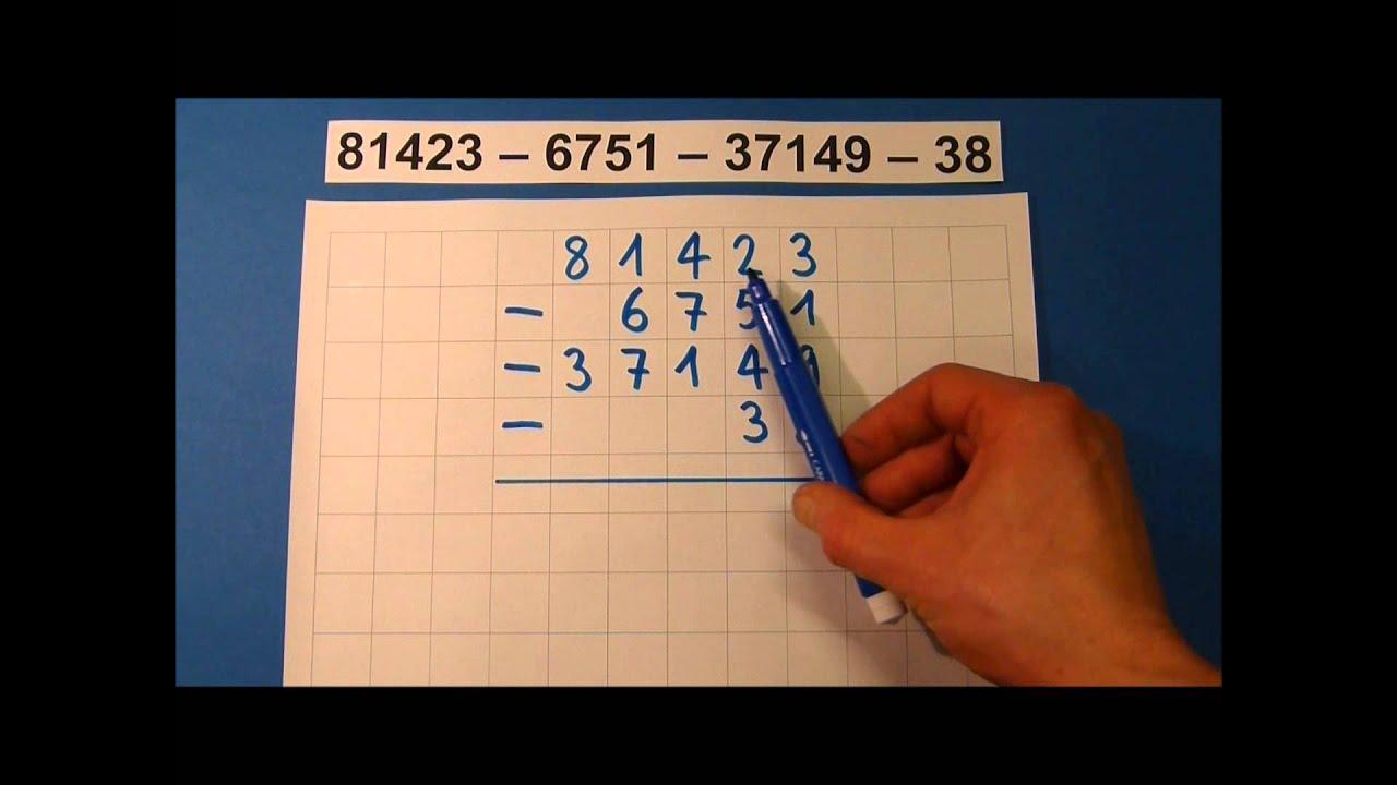 Tutorial: Schriftliche Subtraktion (mit mehreren Zahlen) - YouTube