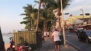 Thailand April 2018 VLOG 10 - Pattaya Beach Road Sunset and Soi 6