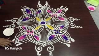 Latest Peacock  Padi kolam for Dhanurmasam special || Creative cute color Padi kola