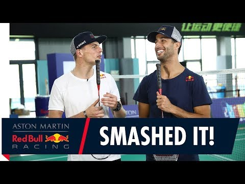 Daniel Ricciardo and Max Verstappen play Badminton in Shanghai