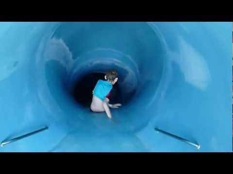 Alex and Elisha on the New Plymouth Waterslide