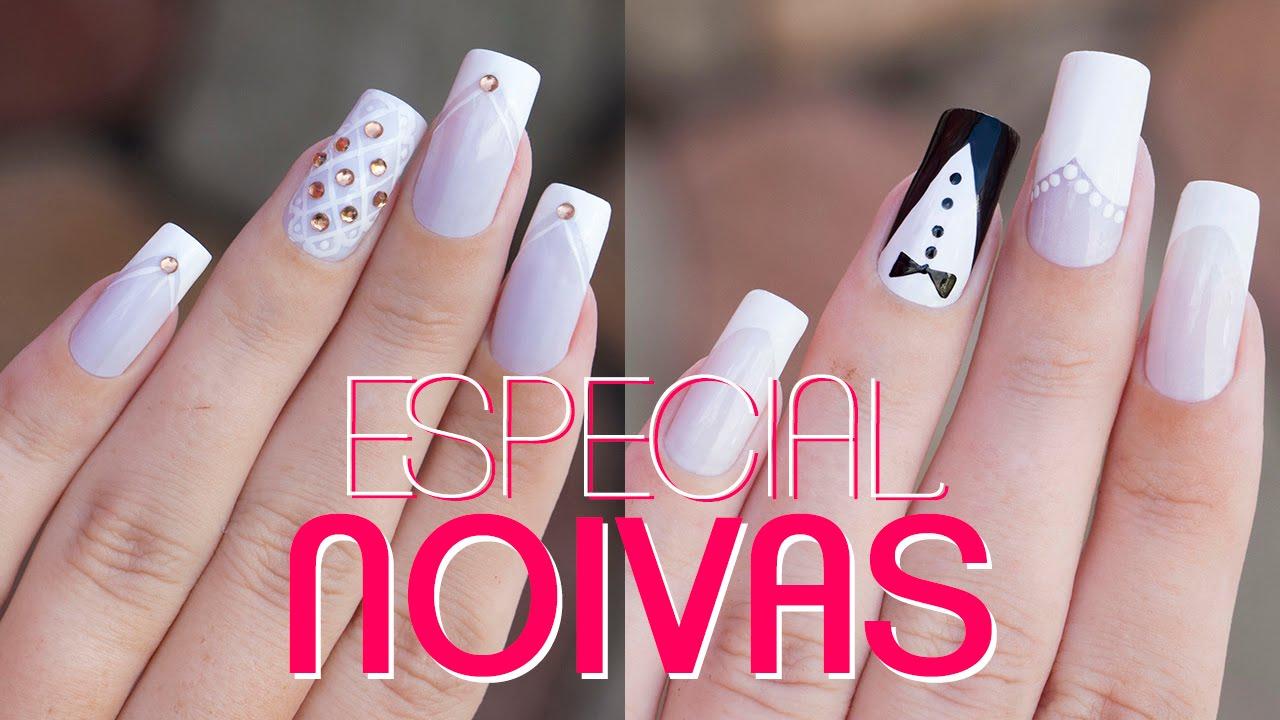 DECORA u00c7ÃO DE UNHAS PARA NOIVAS (FÁCIL) Ideia Rosa YouTube # Decoração De Unha Simples E Facil