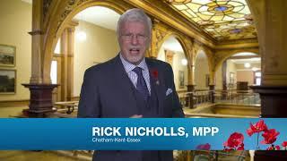 MPP Nicholls Rememberance Day Greeting