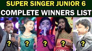 Super Singer Junior 6 Complete Winners List | Vijay TV Super Singer 2019 Winners List
