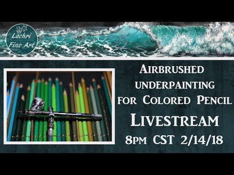 Airbrushing the background for Colored Pencil Livestream - Lachri
