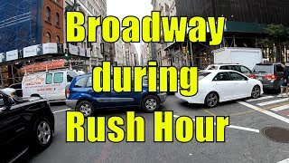 Cycling in NYC via Broadway from Central Park to Wall Street, Manhattan during Rush Hour
