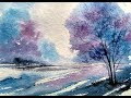 Tree Landscape With Watercolor | Paint with david