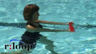Water exercise using the rloop resistance band for aquatic therapy or fitness