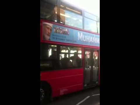 London Bus advertising Peace for Humanity - Muhammad the Merciful Wembley Conference