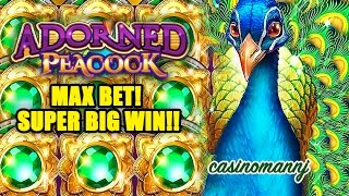 Adorned Peacock Slot - MAX BET! - SUPER BIG WIN!! - Slot Machine Bonus