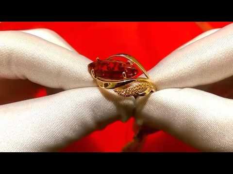 Кольцо из золочёного серебра с янтарём и фианитами Sokolov 83010031