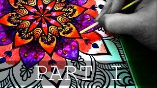Mandala coloring with heated crayons [1] | Coloreando una Mandala con crayones derretidos [1]