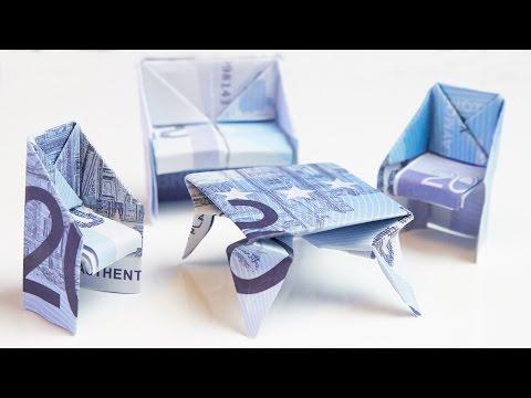 geschenk zum einzug stuhl aus geld falten doovi. Black Bedroom Furniture Sets. Home Design Ideas