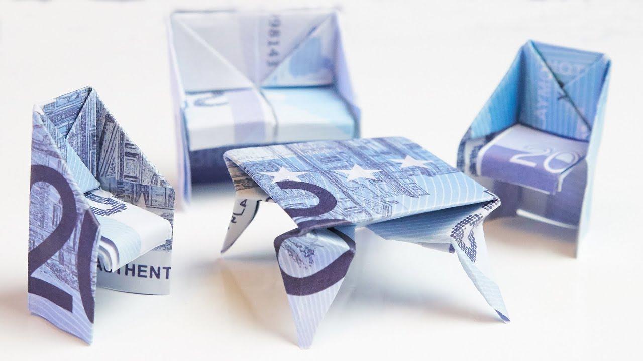 Geschenk zum einzug tisch aus geld falten youtube - Geldgeschenk haus basteln ...