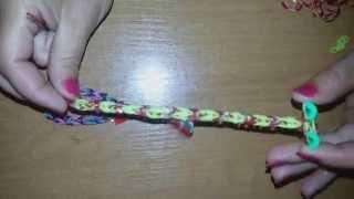 Плетение браслетов из резинок косичка,Bracelet type of gum pigtail