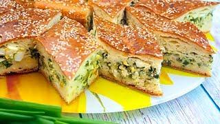 Заливной пирог с зеленым луком и яйцом, рецепт теста на кефире