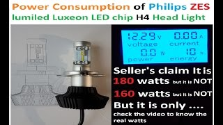 Power Consumption of Philips lumiled Luxeon ZES LED chip H4 Head Light