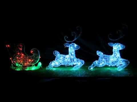 9619575dee Christmas LED Acrylic Reindeers w  Flashing Sleigh - YouTube