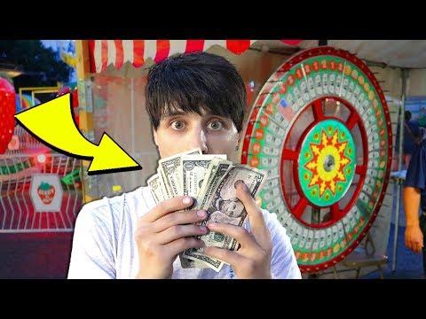 Winning Money at the Carnival Money Wheel Game!