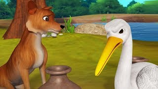 The Fox and the Crane Bengali Moral Stories for Kids   Infobells