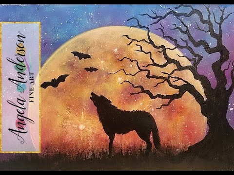 MOON Rising Landscape Night Sky with Wolf & Tree Beginner Acrylic Painting Tutorial LIVE