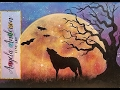HALLOWEEN MOON Rising Night Sky Landscape with Wolf & Tree Beginner Acrylic Painting Tutorial LIVE