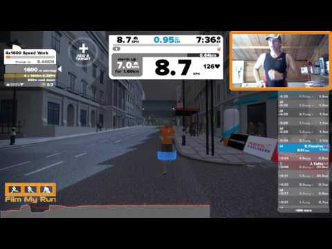 Zwift Running - London Interval Session 4x1600m