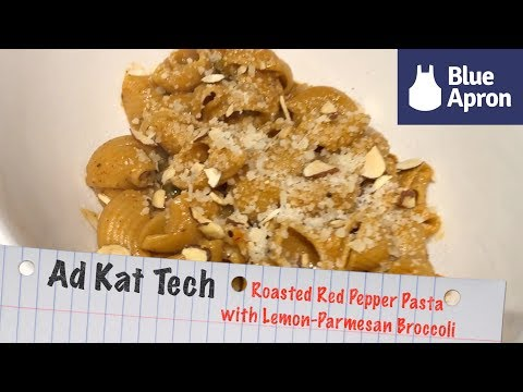 Real World Blue Apron Cooking | Roasted Red Pepper Pasta with Lemon-Parmesan Broccoli