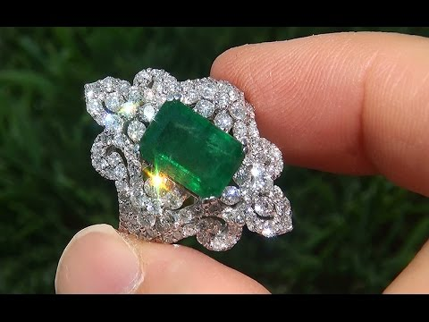 Gia Certified Untreated Natural Colombian Emerald Diamond