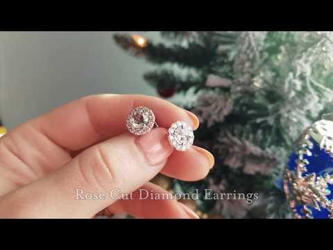 Rose Cut Diamond Earrings, Style # KE-4215-B. Breathtaking Rose Cut Diamond Earrings.