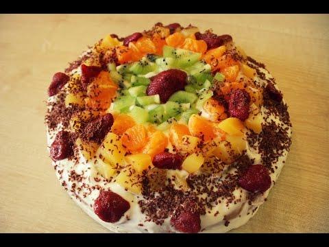 Фруктовый торт со сметаной - простой рецепт