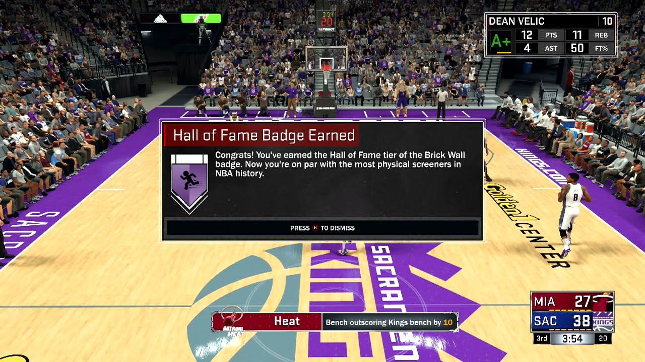 How To Get Brick Wall Gold Hall Of Fame In Nba2k17 Badge