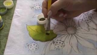 Pintura em Tecido para Iniciantes Flores e Folhas Parte I