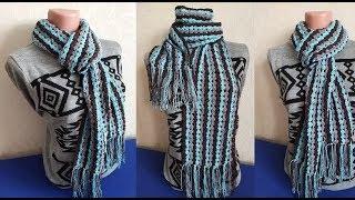 Вяжем красивый шарф простым узором. Вязание крючком для начинающих. Вязание крючком 2019.