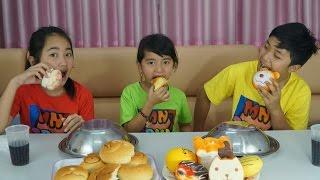 Đồ ăn bất ngờ - Thử thách đồ chơi Squishy và bánh mì thật - Squishy FOOD Toys vs Real Food Challenge
