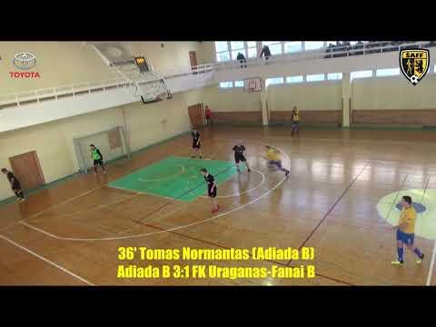 """ŠA salės futbolo pirmenybės: """"Adiada B"""" 3:3 FK """"Uraganas""""-""""Fanai B"""" (įvarčiai)"""