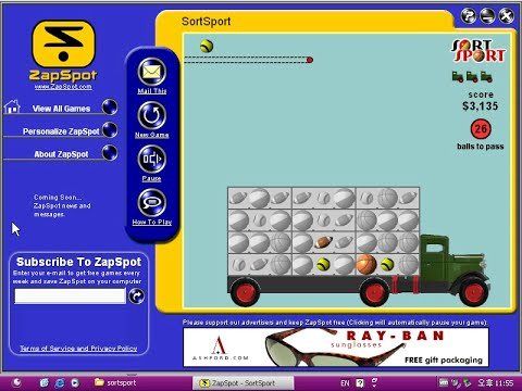 Old Windows game - Zapspot Sort Sport (2000)