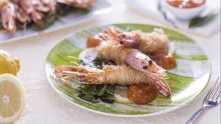 Kataifi prawns with apricot jam sauce - recipe