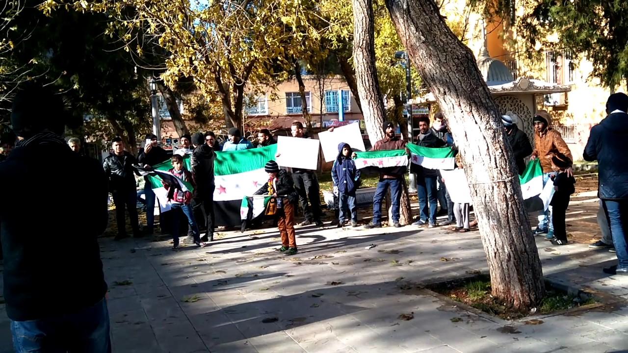 Suriyeliler Halep'te yaşananları Protesto etti