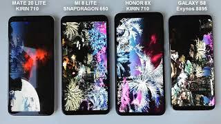 antutu benchmark Huawei Mate 20 Lite vs Xiaomi Mi 8 Lite vs Honor 8X vs Samsung Galaxy S8