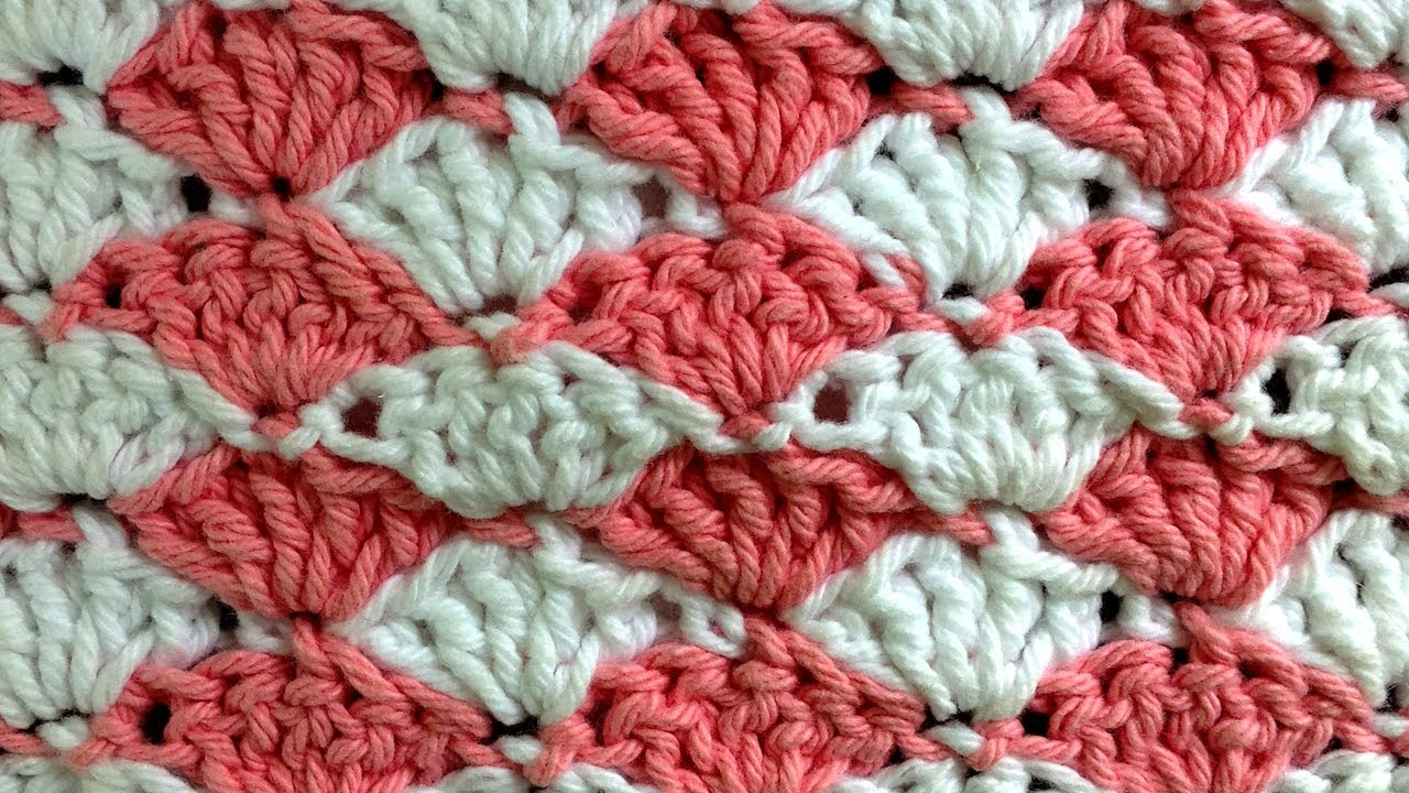 Shell Left Crochet Stitch Change Color Every Row Pattern
