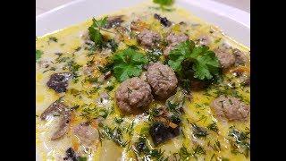 Сырный суп с фрикадельками и грибами ( Käsesuppe mit Frikadellen und Pilzen)