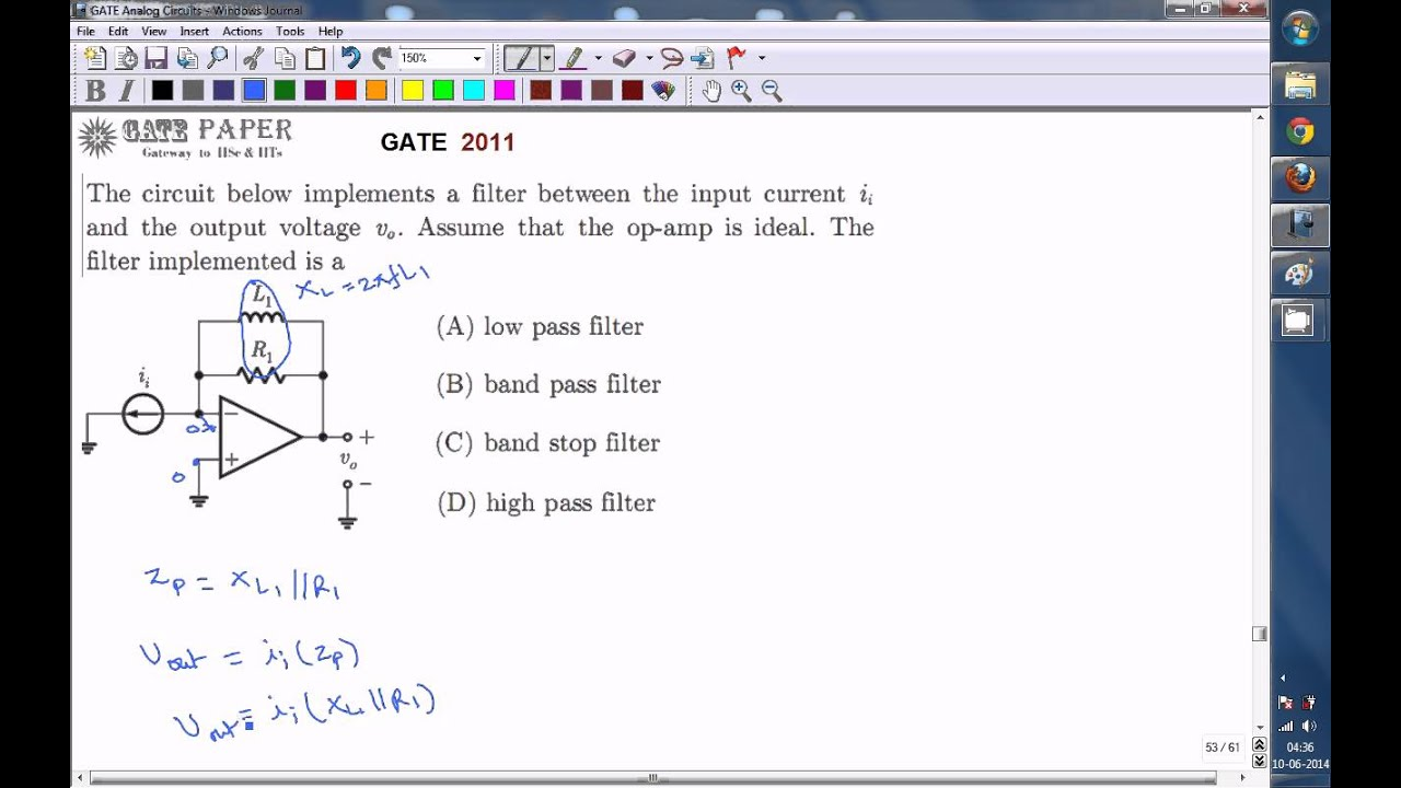 Gate 2011 Ece Find The Type Of Filter Circuit Implemented Youtube Band Stop Design And Applications