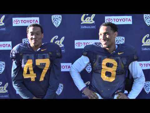 Cal Football: Hardy Nickerson and Michael Barton Post Practice 4/10/15
