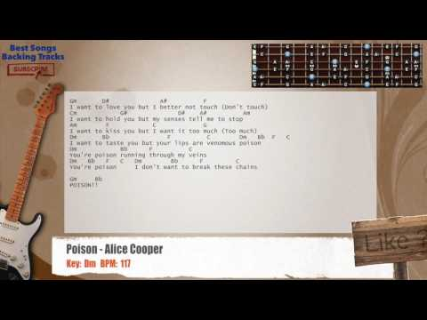 Poison - Alice Cooper Guitar Backing Track with chords and lyrics