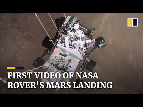 Nasa releases first video of dramatic Mars landing by Perseverance rover