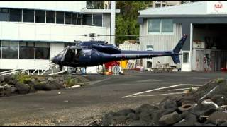 twin engine Aerospatiale AS355F1 Eagle Police 1 Start up take off